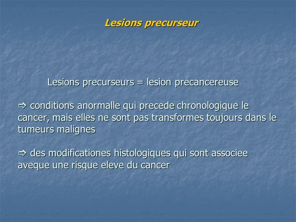 Lesions precurseur Lesions precurseurs = lesion precancereuse conditions anormalle qui precede chronologique le cancer, mais elles ne sont pas transfo