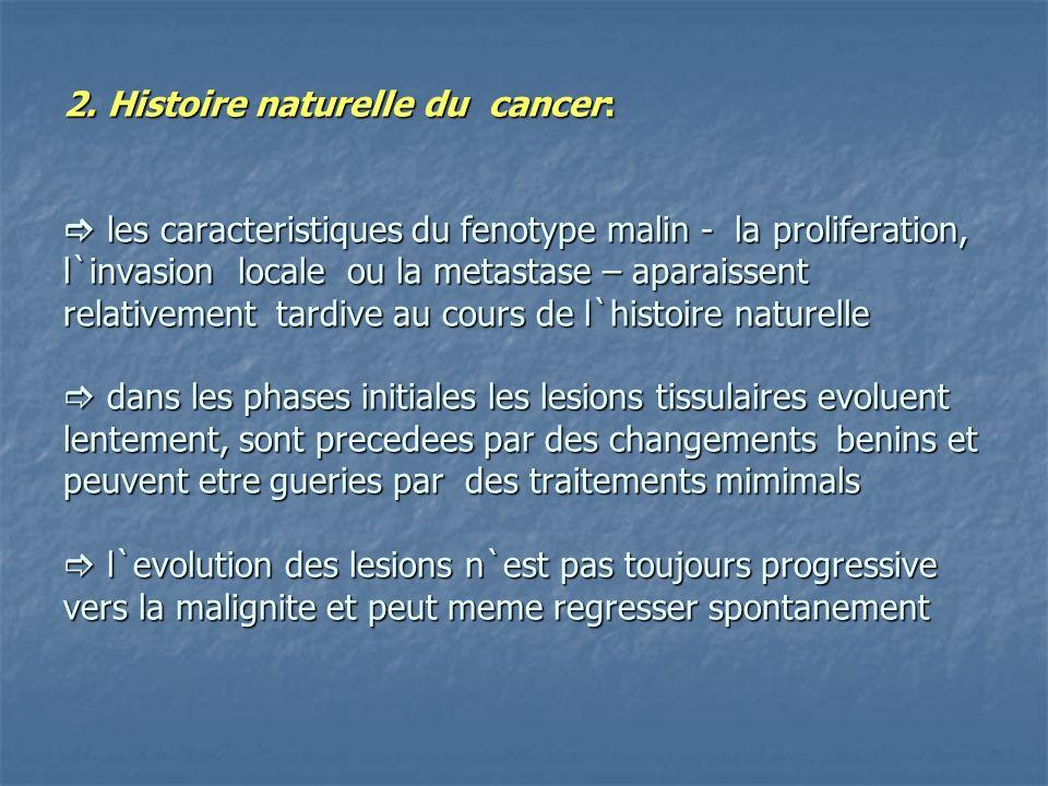 2. Histoire naturelle du cancer: les caracteristiques du fenotype malin - la proliferation, l`invasion locale ou la metastase – aparaissent relativeme