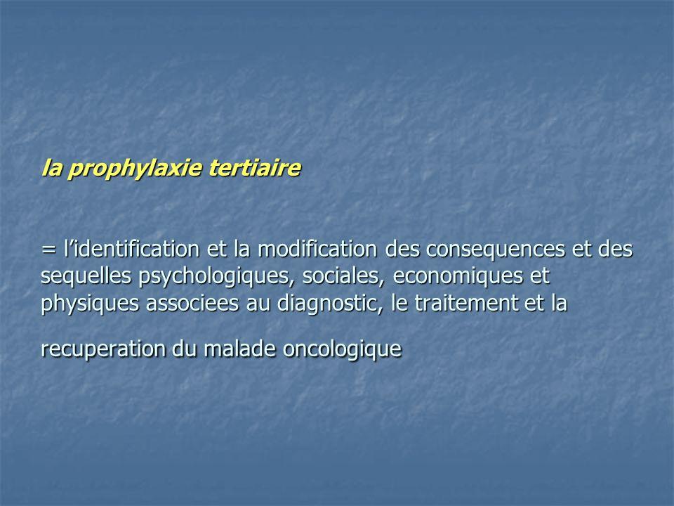 la prophylaxie tertiaire = lidentification et la modification des consequences et des sequelles psychologiques, sociales, economiques et physiques associees au diagnostic, le traitement et la recuperation du malade oncologique