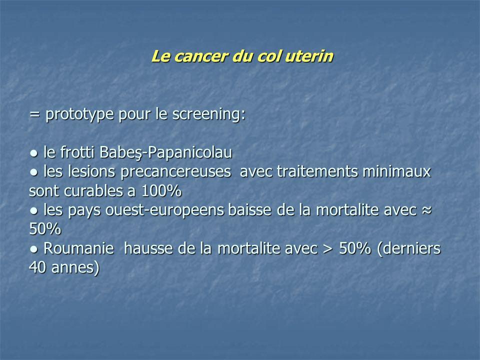 Le cancer du col uterin = prototype pour le screening: le frotti Babeş-Papanicolau les lesions precancereuses avec traitements minimaux sont curables