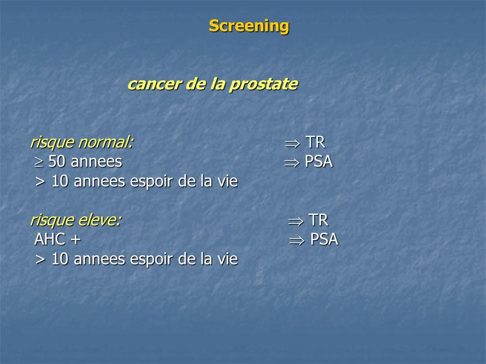Screening cancer de la prostate risque normal: TR 50 annees PSA > 10 annees espoir de la vie risque eleve: TR AHC + PSA > 10 annees espoir de la vie S