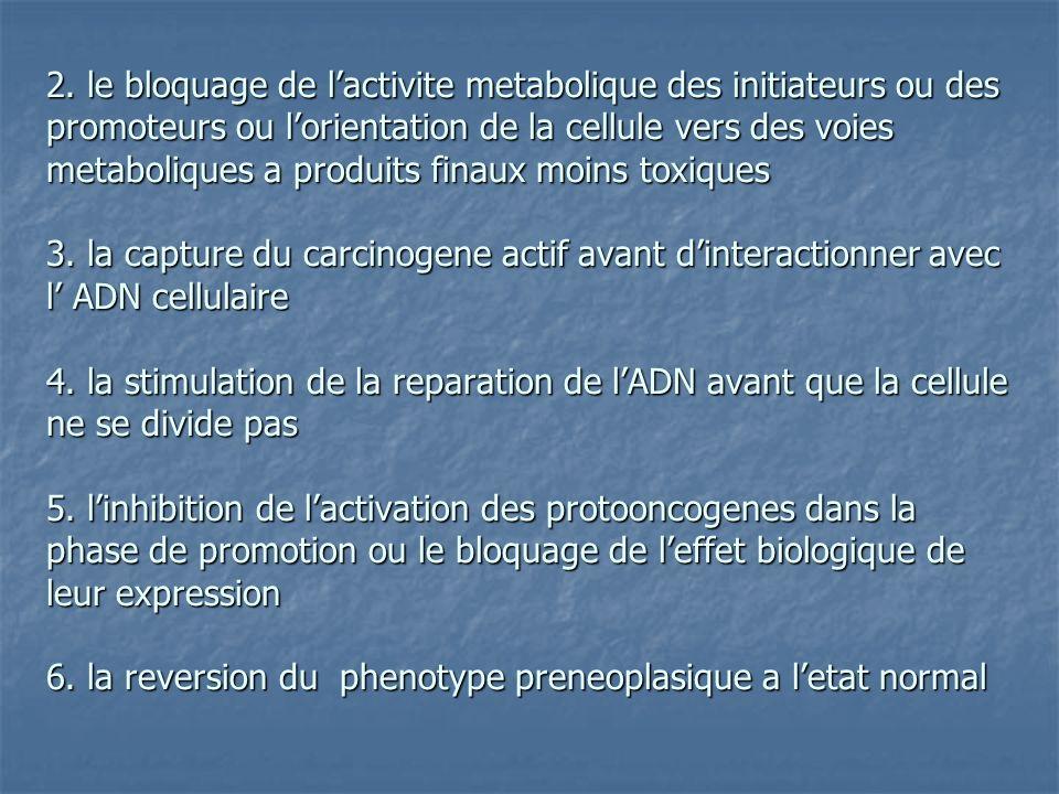 2. le bloquage de lactivite metabolique des initiateurs ou des promoteurs ou lorientation de la cellule vers des voies metaboliques a produits finaux