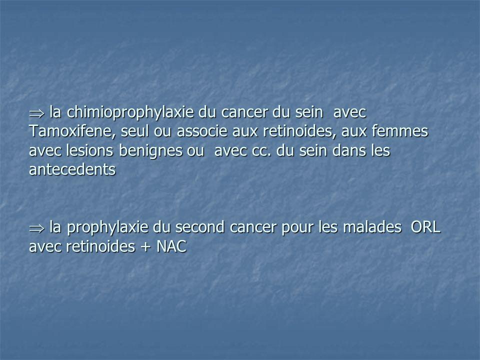 la chimioprophylaxie du cancer du sein avec Tamoxifene, seul ou associe aux retinoides, aux femmes avec lesions benignes ou avec cc. du sein dans les