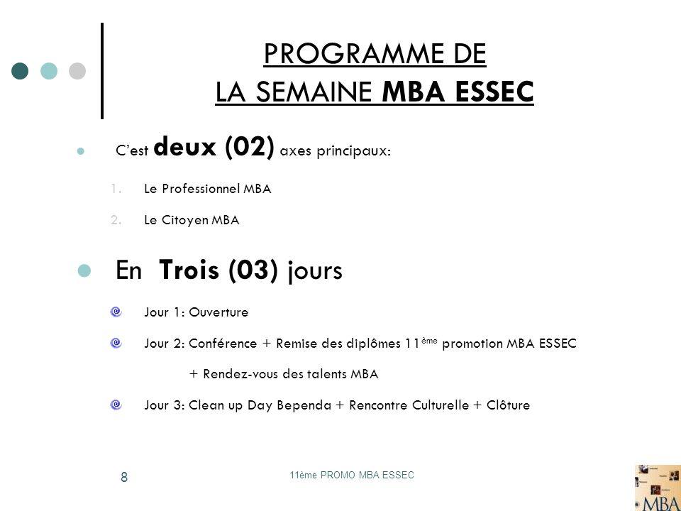 11ème PROMO MBA ESSEC 9 JOUR 1: jeudi 19 novembre 2009 Le Professionnel MBA Matinée 10h- 12h Cérémonie douverture Allocution du Recteur de Luniversité de Douala: Pr.