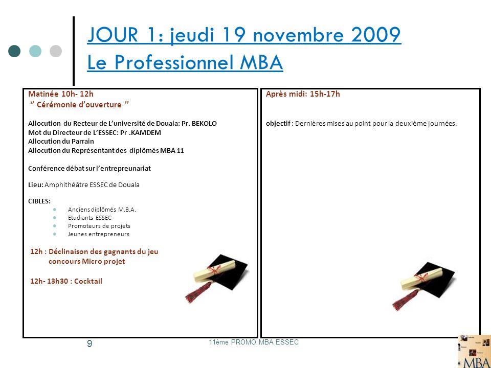 11ème PROMO MBA ESSEC 10 Jour 2: Vendredi 20 Novembre CONFERENCES 08h-09h: Arrivée et installation des invités 9h-11h: Conférence publique Thème: Les entreprises Camerounaises face à la crise financière.