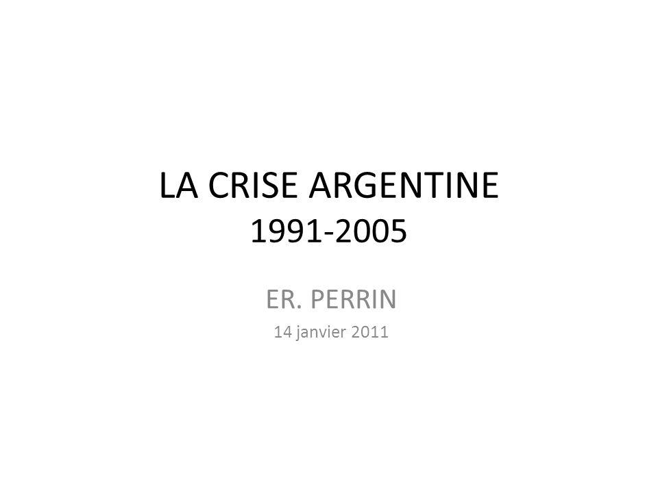 Vue densemble La crise argentine, depuis 1991, soulève plusieurs types de problématiques : 1/ La lutte contre linflation 2/ Le traitement des questions dendettement 3/ Les politique et régime monétaires 4/ La gouvernance économique internationale et le rôle du FMI 5/ Les sorties de crise