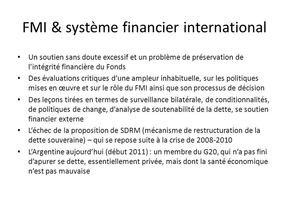 FMI & système financier international Un soutien sans doute excessif et un problème de préservation de lintégrité financière du Fonds Des évaluations critiques dune ampleur inhabituelle, sur les politiques mises en œuvre et sur le rôle du FMI ainsi que son processus de décision Des leçons tirées en termes de surveillance bilatérale, de conditionnalités, de politiques de change, danalyse de soutenabilité de la dette, se soutien financier externe Léchec de la proposition de SDRM (mécanisme de restructuration de la dette souveraine) – qui se repose suite à la crise de 2008-2010 LArgentine aujourdhui (début 2011) : un membre du G20, qui na pas fini dapurer se dette, essentiellement privée, mais dont la santé économique nest pas mauvaise