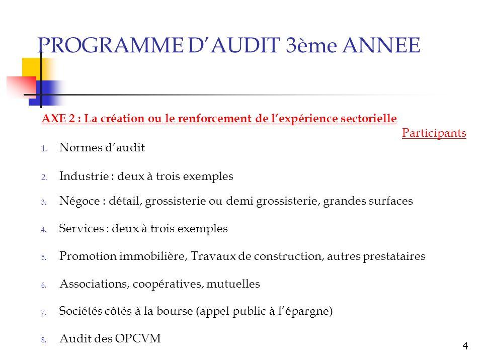 3 AXE 2 : La création ou le renforcement de lexpérience sectorielle Intervenants externes Vérifications et diligences spécifiques du CAC Audit des ban
