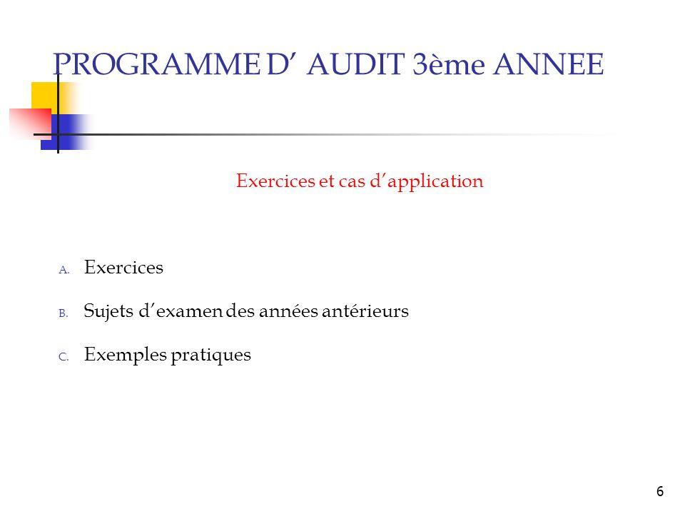 6 Exercices et cas dapplication A.Exercices B. Sujets dexamen des années antérieurs C.