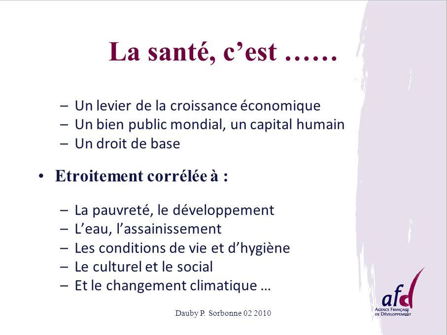 Dauby P. Sorbonne 02 20102 La santé, cest …… –Un levier de la croissance économique –Un bien public mondial, un capital humain –Un droit de base Etroi
