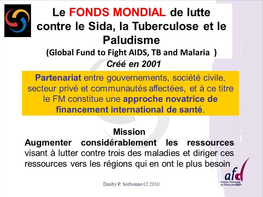 Dauby P. Sorbonne 02 201030 Le FONDS MONDIAL de lutte contre le Sida, la Tuberculose et le Paludisme (Global Fund to Fight AIDS, TB and Malaria ) Part