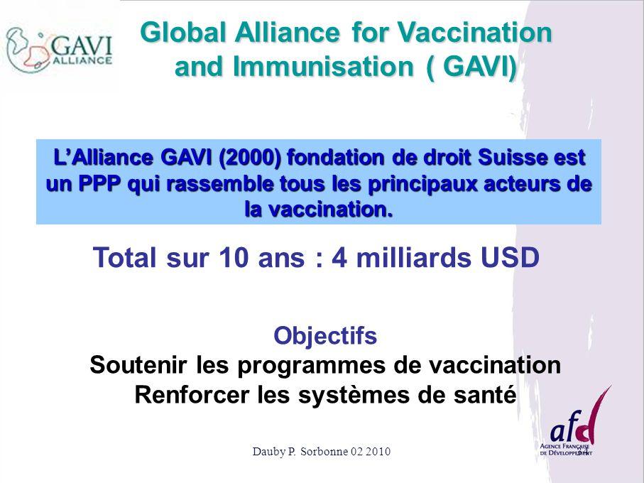 Dauby P. Sorbonne 02 201034 Global Alliance for Vaccination and Immunisation ( GAVI) LAlliance GAVI (2000) fondation de droit Suisse est un PPP qui ra