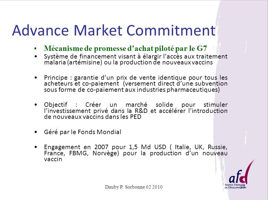 Dauby P. Sorbonne 02 201039 Advance Market Commitment Mécanisme de promesse dachat piloté par le G7 Système de financement visant à élargir laccès aux