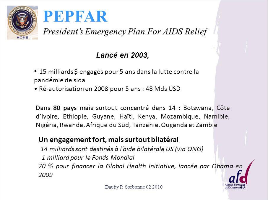 Dauby P. Sorbonne 02 201040 PEPFAR Presidents Emergency Plan For AIDS Relief 15 milliards $ engagés pour 5 ans dans la lutte contre la pandémie de sid