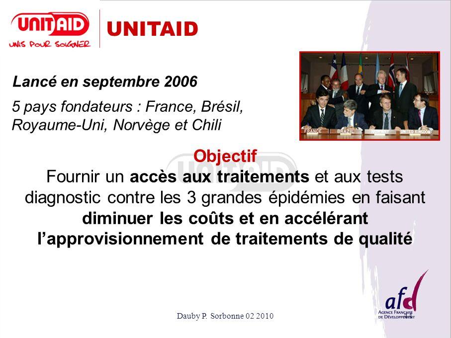 Dauby P. Sorbonne 02 201044 UNITAID Lancé en septembre 2006 Objectif Fournir un accès aux traitements et aux tests diagnostic contre les 3 grandes épi