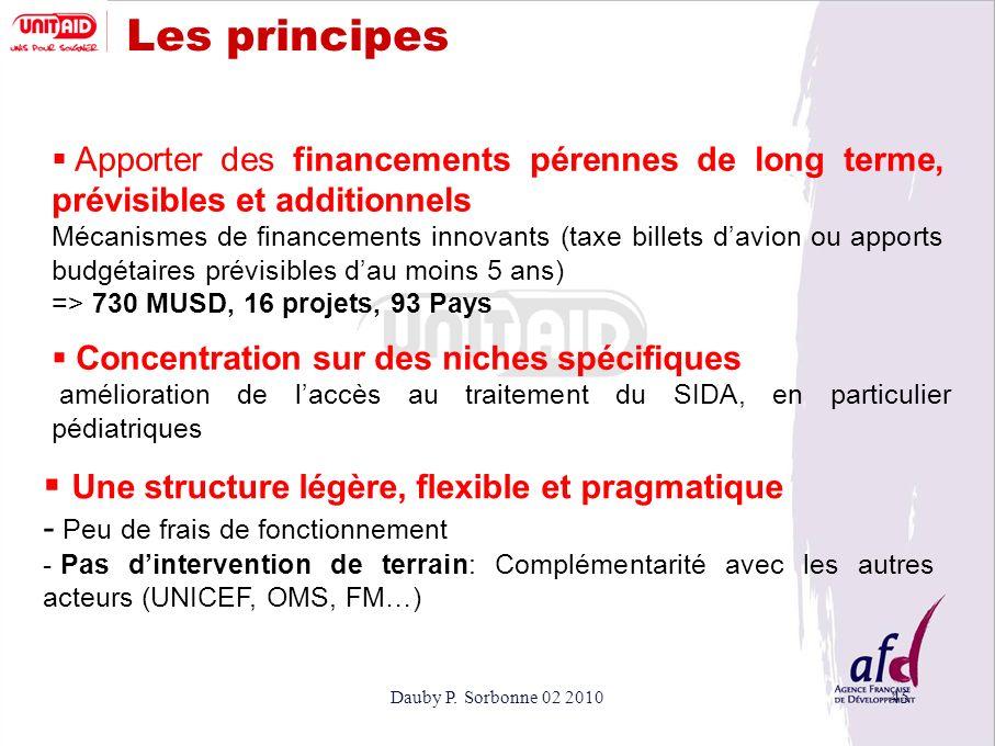 Dauby P. Sorbonne 02 201045 Les principes Apporter des financements pérennes de long terme, prévisibles et additionnels Mécanismes de financements inn