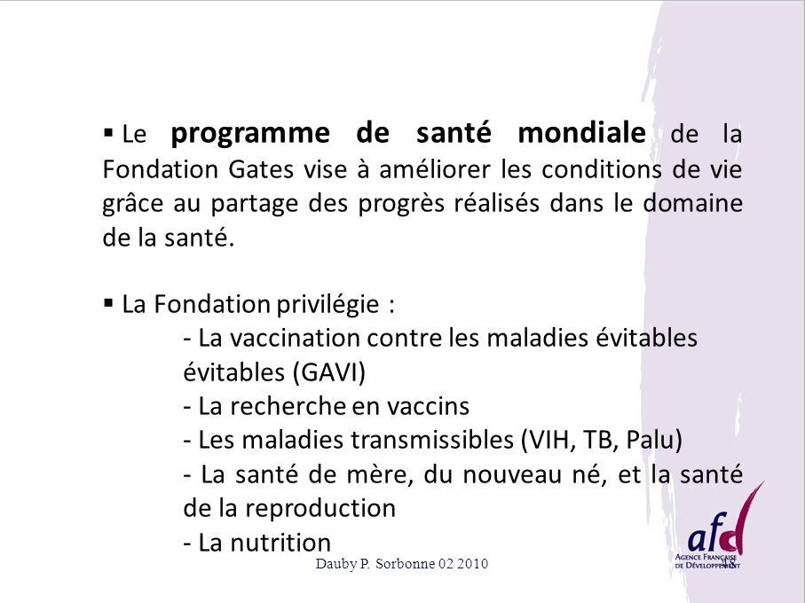 Dauby P. Sorbonne 02 201048 Le programme de santé mondiale de la Fondation Gates vise à améliorer les conditions de vie grâce au partage des progrès r