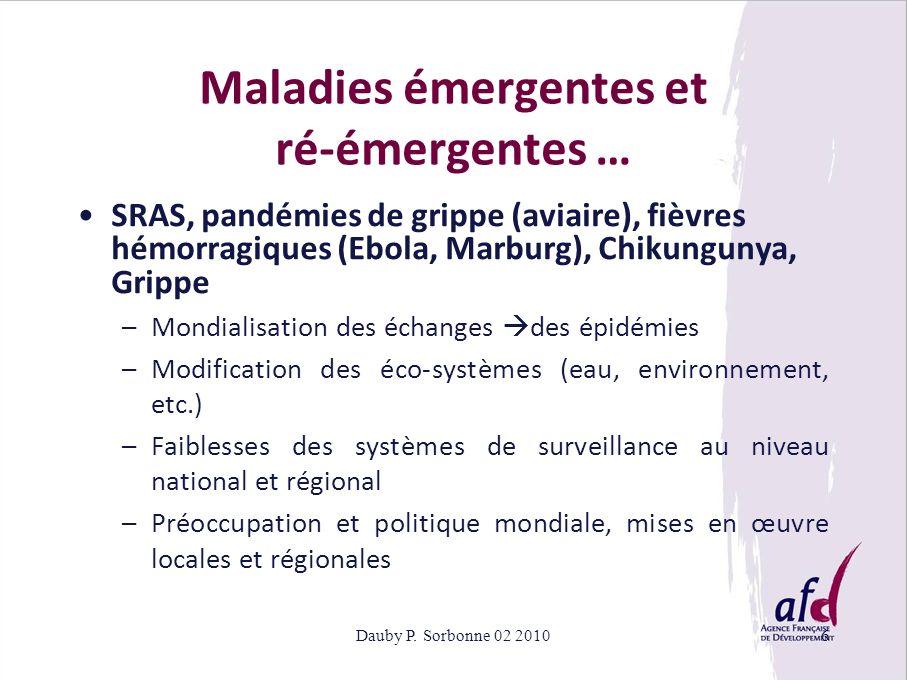 Dauby P. Sorbonne 02 20106 Maladies émergentes et ré-émergentes … SRAS, pandémies de grippe (aviaire), fièvres hémorragiques (Ebola, Marburg), Chikung