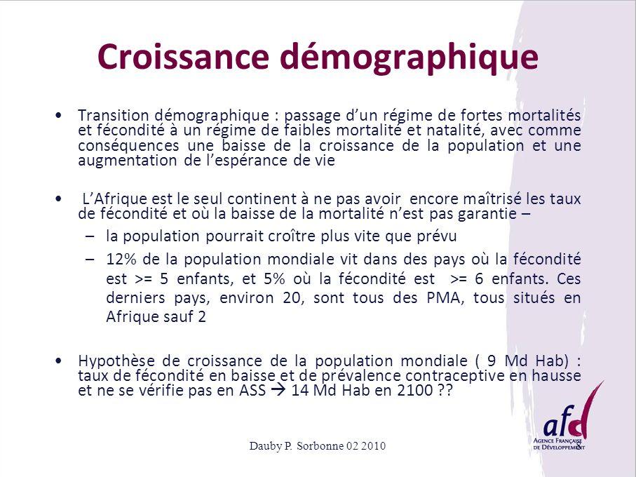 Dauby P. Sorbonne 02 20108 Croissance démographique Transition démographique : passage dun régime de fortes mortalités et fécondité à un régime de fai