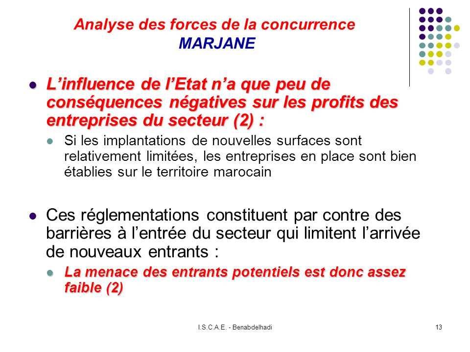 I.S.C.A.E. - Benabdelhadi13 Analyse des forces de la concurrence MARJANE Linfluence de lEtat na que peu de conséquences négatives sur les profits des