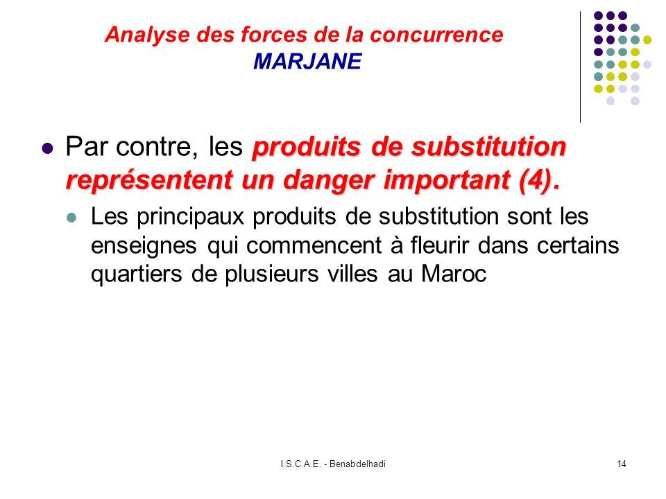 I.S.C.A.E. - Benabdelhadi14 Analyse des forces de la concurrence MARJANE produits de substitution représentent un danger important (4). Par contre, le