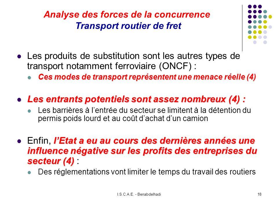 I.S.C.A.E. - Benabdelhadi18 Analyse des forces de la concurrence Transport routier de fret Les produits de substitution sont les autres types de trans