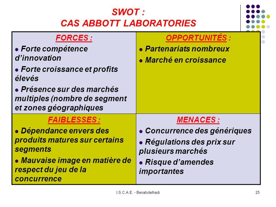 I.S.C.A.E. - Benabdelhadi25 SWOT : CAS ABBOTT LABORATORIES FORCES : Forte compétence dinnovation Forte croissance et profits élevés Présence sur des m