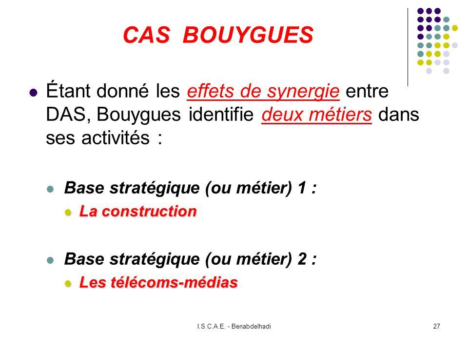 I.S.C.A.E. - Benabdelhadi27 CAS BOUYGUES Étant donné les effets de synergie entre DAS, Bouygues identifie deux métiers dans ses activités : Base strat
