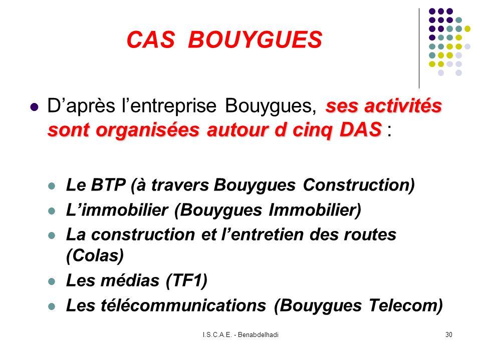 I.S.C.A.E. - Benabdelhadi30 CAS BOUYGUES ses activités sont organisées autour d cinq DAS Daprès lentreprise Bouygues, ses activités sont organisées au