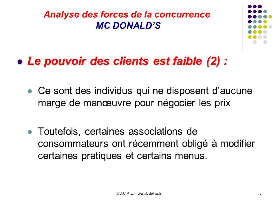 I.S.C.A.E. - Benabdelhadi6 Analyse des forces de la concurrence MC DONALDS Le pouvoir des clients est faible (2) : Le pouvoir des clients est faible (