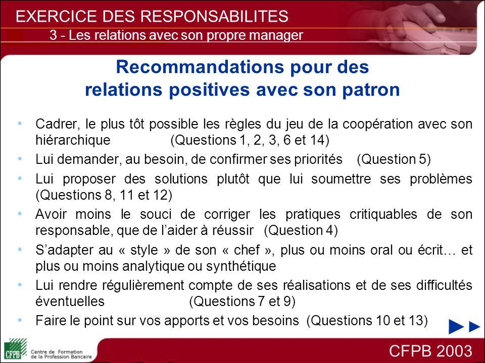 Recommandations pour des relations positives avec son patron Cadrer, le plus tôt possible les règles du jeu de la coopération avec son hiérarchique (Q