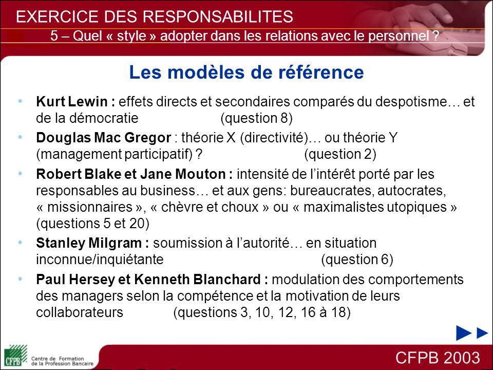 Les modèles de référence Kurt Lewin : effets directs et secondaires comparés du despotisme… et de la démocratie (question 8) Douglas Mac Gregor : théo
