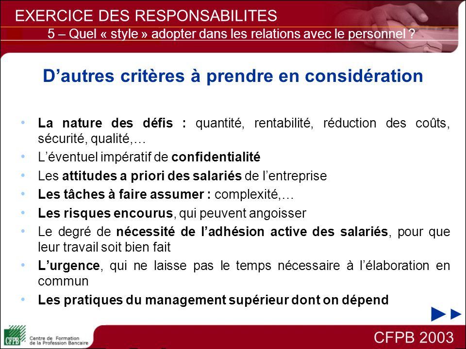 Dautres critères à prendre en considération La nature des défis : quantité, rentabilité, réduction des coûts, sécurité, qualité,… Léventuel impératif