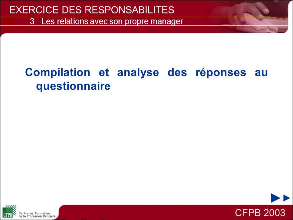 Compilation et analyse des réponses au questionnaire CFPB 2003 EXERCICE DES RESPONSABILITES 3 - Les relations avec son propre manager