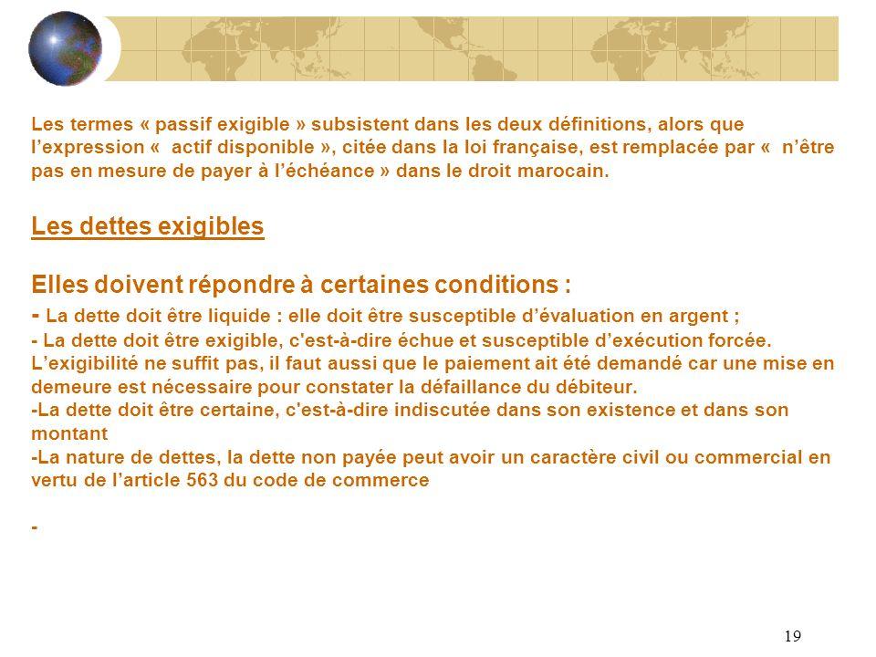 19 Les termes « passif exigible » subsistent dans les deux définitions, alors que lexpression « actif disponible », citée dans la loi française, est r