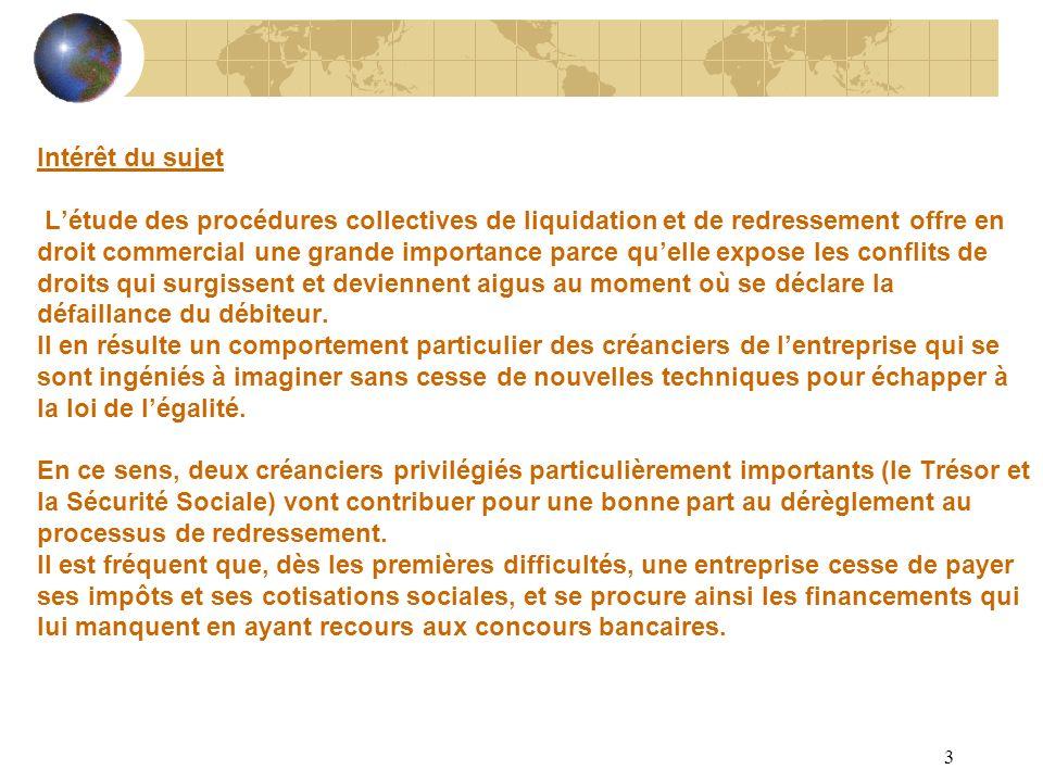 3 Intérêt du sujet Létude des procédures collectives de liquidation et de redressement offre en droit commercial une grande importance parce quelle ex