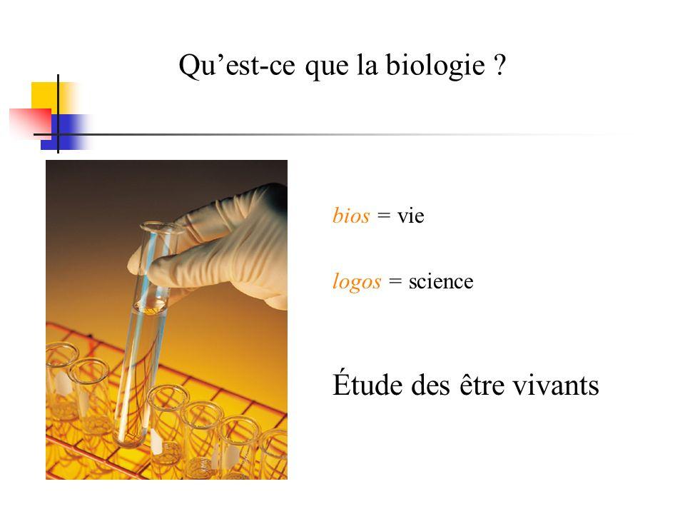 Quest-ce que la biologie ? bios = vie logos = science Étude des être vivants