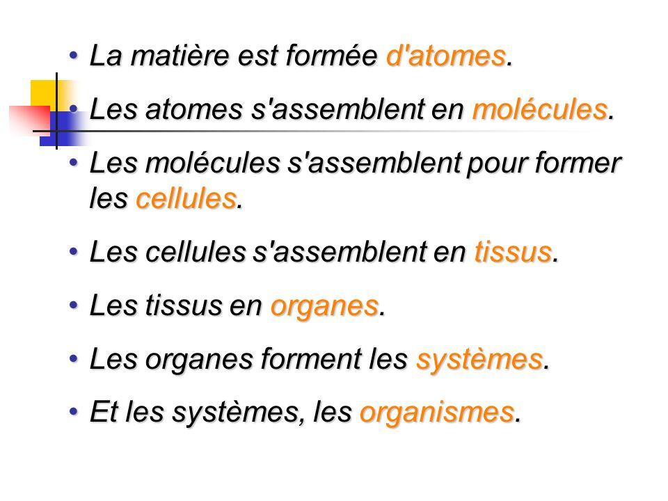 La matière est formée d'atomes.La matière est formée d'atomes. Les atomes s'assemblent en molécules.Les atomes s'assemblent en molécules. Les molécule