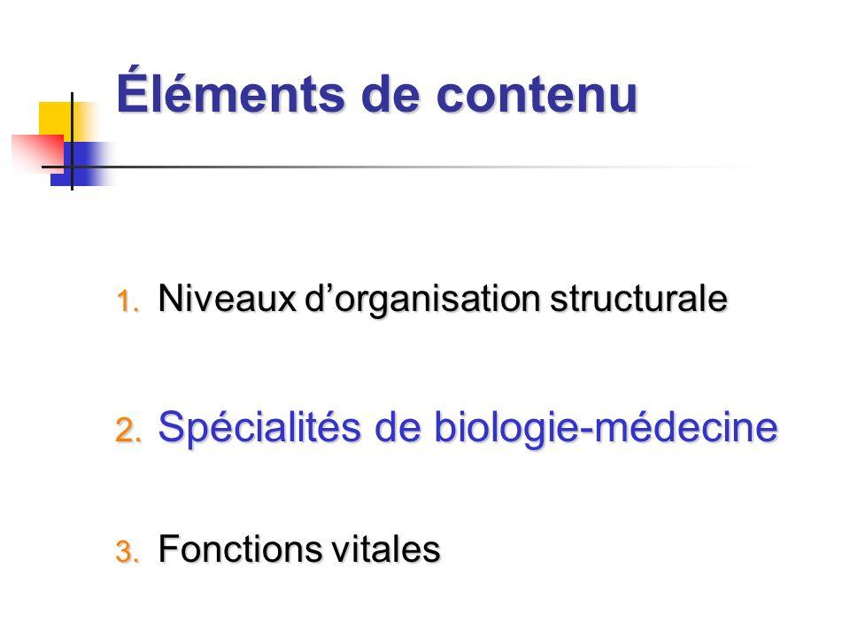 Éléments de contenu 1. Niveaux dorganisation structurale 2. Spécialités de biologie-médecine 3. Fonctions vitales