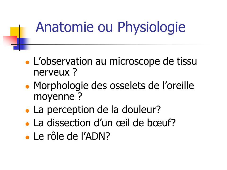 Anatomie ou Physiologie Lobservation au microscope de tissu nerveux ? Morphologie des osselets de loreille moyenne ? La perception de la douleur? La d