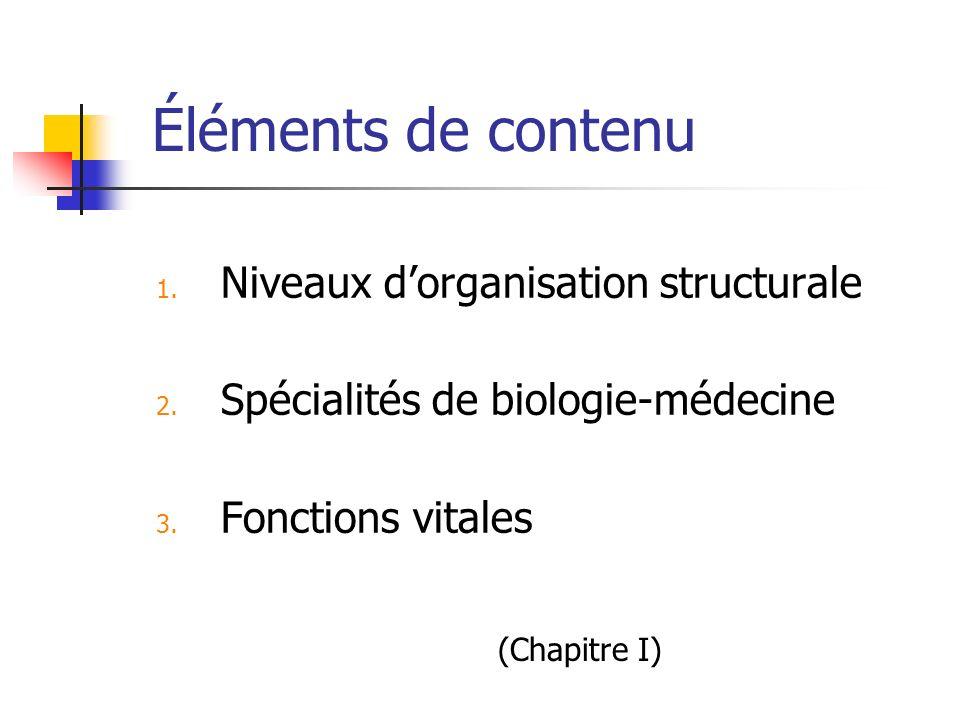 Éléments de contenu 1. Niveaux dorganisation structurale 2. Spécialités de biologie-médecine 3. Fonctions vitales (Chapitre I)