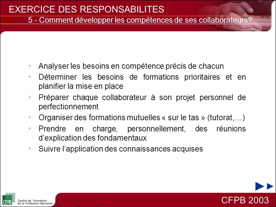CFPB 2003 EXERCICE DES RESPONSABILITES Analyser les besoins en compétence précis de chacun Déterminer les besoins de formations prioritaires et en pla