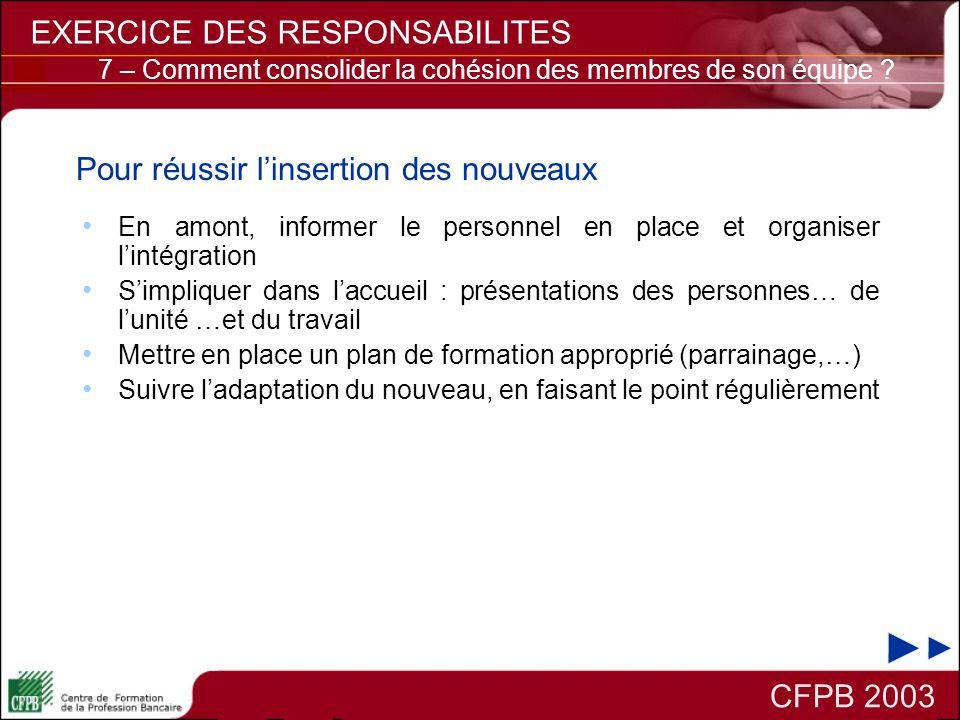 CFPB 2003 EXERCICE DES RESPONSABILITES En amont, informer le personnel en place et organiser lintégration Simpliquer dans laccueil : présentations des