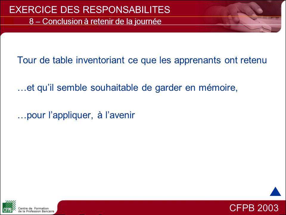 CFPB 2003 EXERCICE DES RESPONSABILITES 8 – Conclusion à retenir de la journée Tour de table inventoriant ce que les apprenants ont retenu …et quil sem