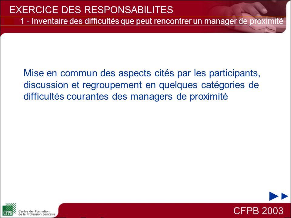CFPB 2003 EXERCICE DES RESPONSABILITES 2 - Comment répondre à des exigences de performance accrues.