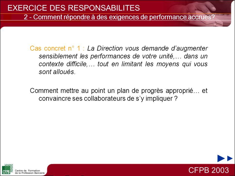 CFPB 2003 EXERCICE DES RESPONSABILITES 2 - Comment répondre à des exigences de performance accrues? Cas concret n° 1 : La Direction vous demande daugm