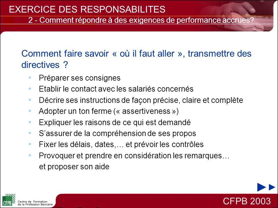 CFPB 2003 EXERCICE DES RESPONSABILITES Comment faire savoir « où il faut aller », transmettre des directives ? Préparer ses consignes Etablir le conta