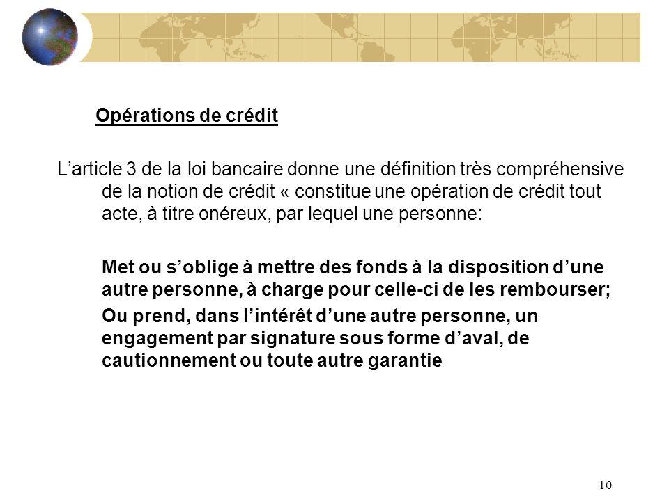 10 Opérations de crédit Larticle 3 de la loi bancaire donne une définition très compréhensive de la notion de crédit « constitue une opération de créd