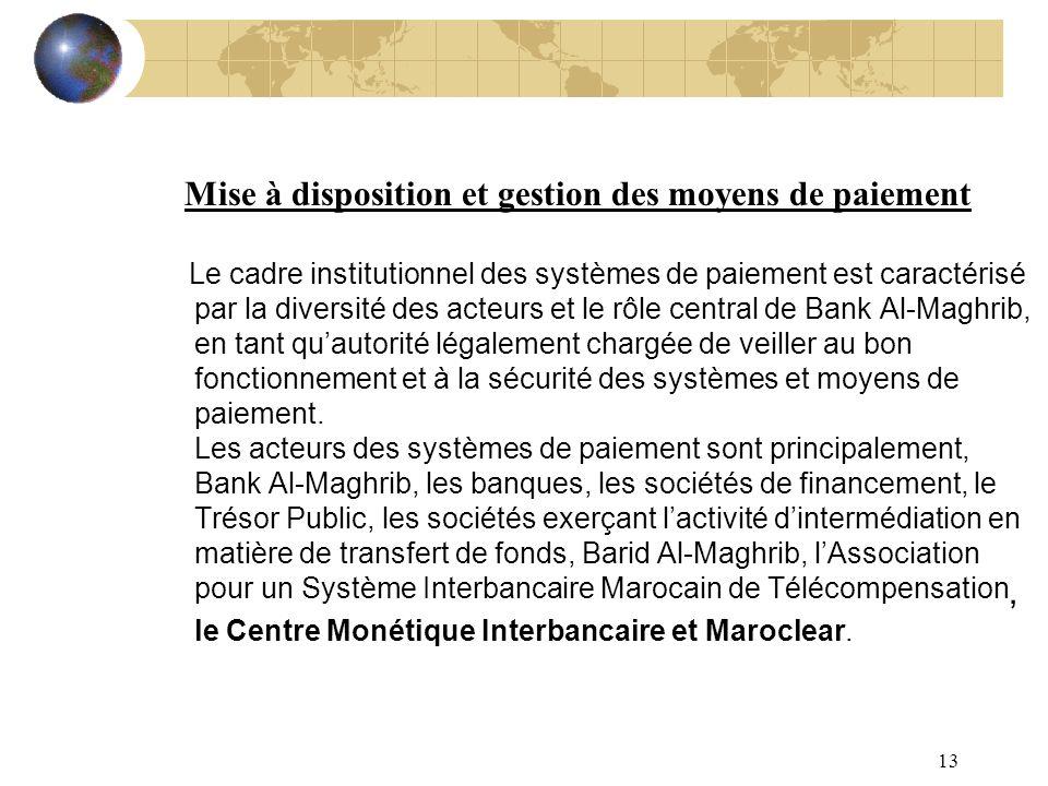 13 Mise à disposition et gestion des moyens de paiement Le cadre institutionnel des systèmes de paiement est caractérisé par la diversité des acteurs