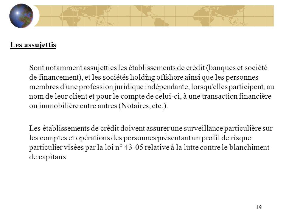 19 Les assujettis Sont notamment assujetties les établissements de crédit (banques et société de financement), et les sociétés holding offshore ainsi